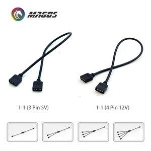 Image 3 - Câble dextension pour Interface de carte mère 5V3PIN/12V4PIN AURA rvb 1 2/3/4 répartiteur dinterface adressable D RGB Hub de synchronisation JST 3Pin