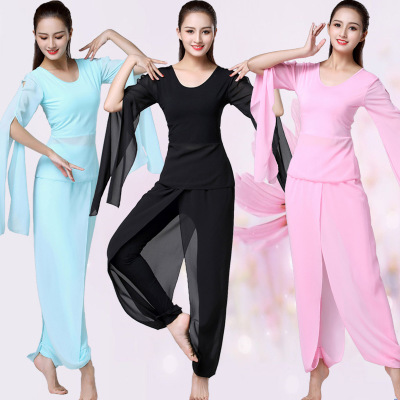 Women Classic Dance Costumes traditional Chinese Suit Chiffon Water Sleeves Elegant Modern Dance Stage Wear Yoga Sport Training