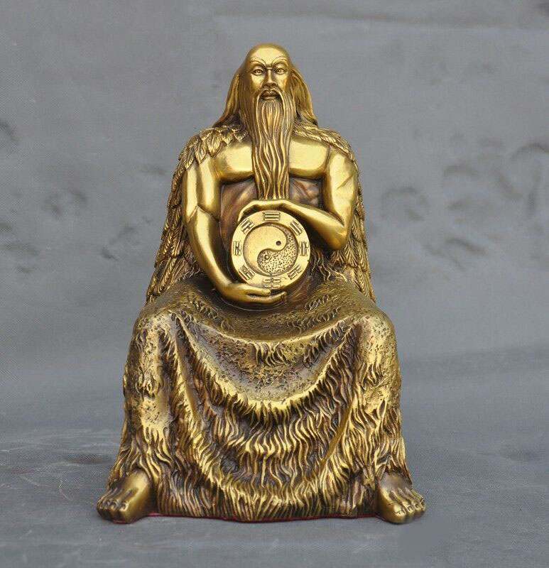 Wedding Decoration Old Chinese Pure Bronze Myth Seat Fu Hsi Fuxi King God Immortal Gossip Statue