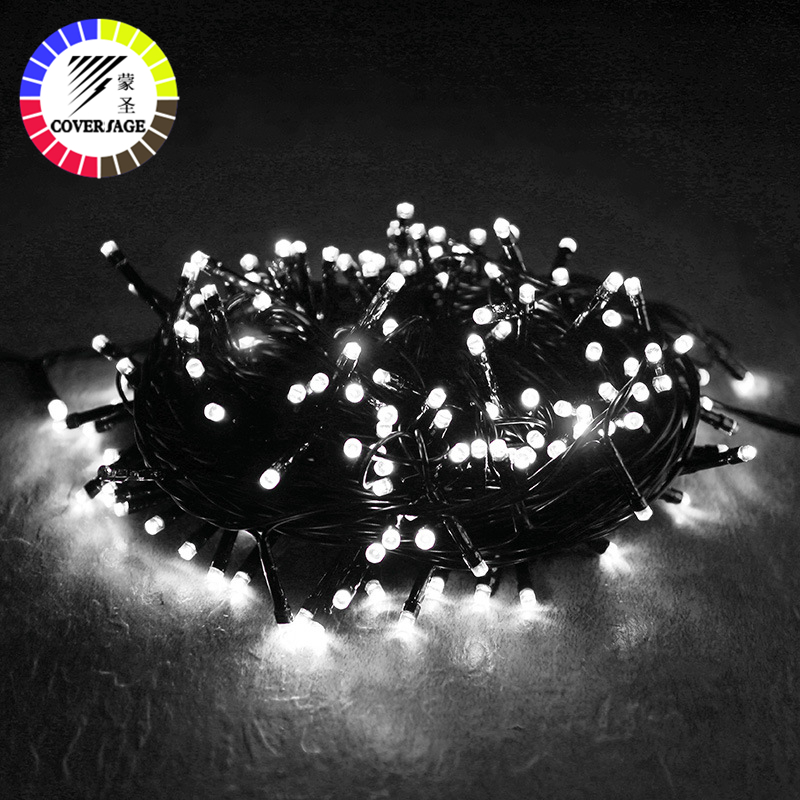 Coversage Christmas Tree 100M Led String Garland Fairy Light Black Line Chain Home Garden Party Outdoor Holiday Decoration