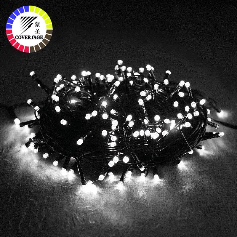 Coversage arbre de noël 100M Led guirlande guirlande fée lumière noir ligne chaîne maison jardin fête en plein air vacances décoration