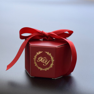 Image 5 - Angepasst Wein Rot Kreative Marmorierung Stil Candy Boxen Hochzeit Gefälligkeiten Dekoration Partei Liefert Baby Papier Geschenk Box DIY Logo