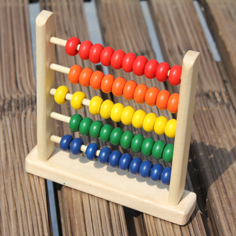 Wooden Small Five Grids Beaded Bracelet Children Early Education Wood Educational Toy Beads Calculation Frame Beaded Bracelet Ki