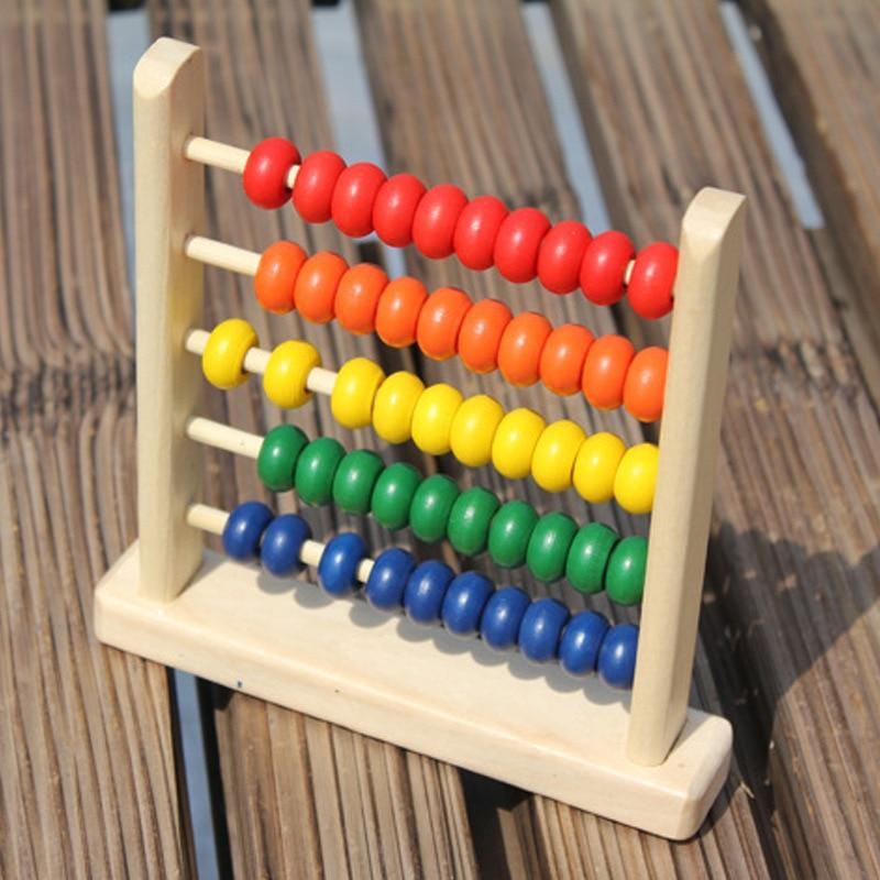 Wooden Small Five Grids Beaded Bracelet Children Early Education Wood Educational Toy Beads Calculation Frame Beaded Bracelet Ki