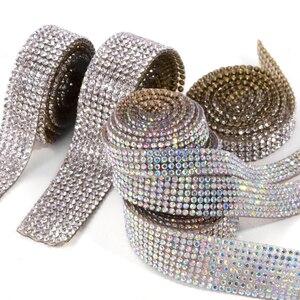 1 ярд 4/6/8 строк 2 мм SS6 Bling Crystal Chatons утюжок на обшивке самоклеящаяся лента для горячей фиксации патчи сетчатая ткань для шитья рулон Сделай Сам ...