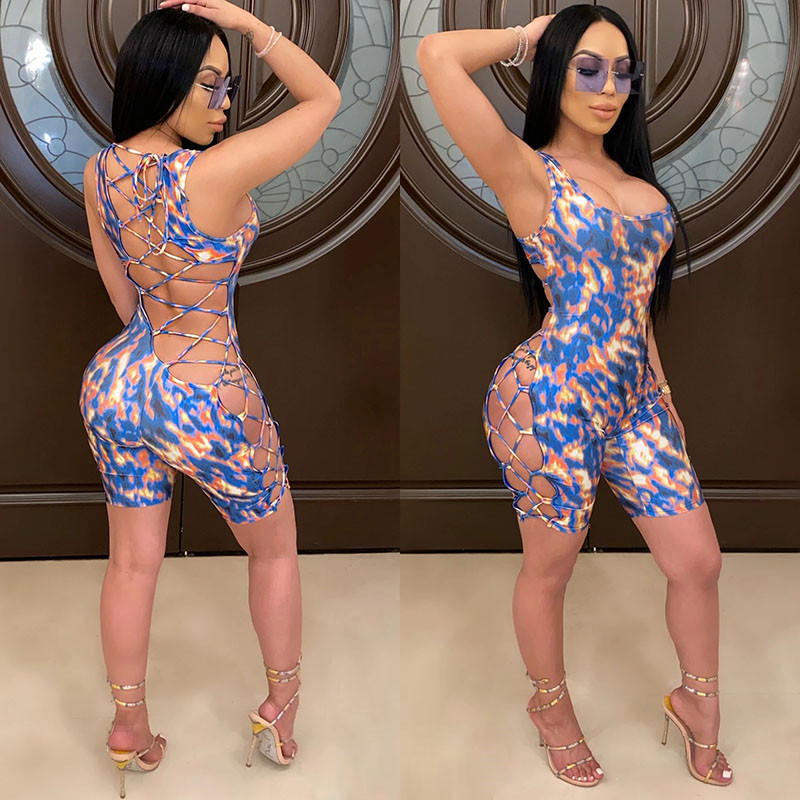 Backless Hollow Out Skinny Jumpsuit Romper 2020 Sexy Women Sleeveless Print Lace Up Bandage Jumpsuit Overalls Shorts Feminino