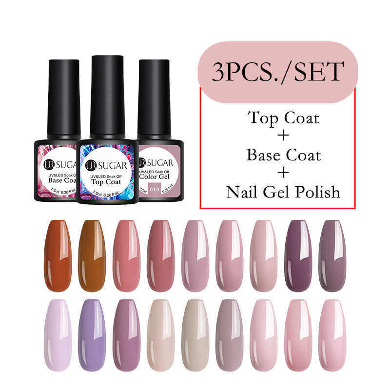 UR Sugar 3 Pcs/lot Gel Nail Polish Rendam Off Semi Permanen Nude Pink Color UV LED Gel Pernis Bahasa Polandia manikur Set Kit