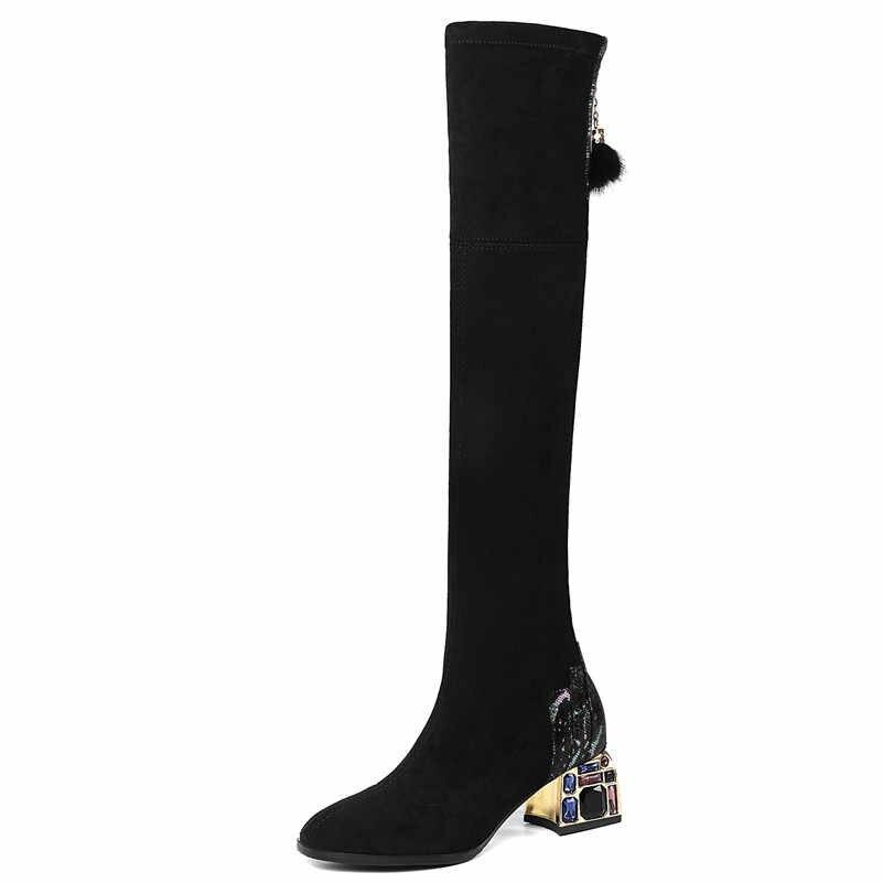 FEDONAS femmes strass talons hauts parti chaussures de bal femme noir Sexy bottes extensibles hiver chaud femmes sur le genou bottes hautes
