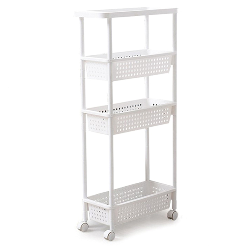 Space Kitchen Storage Rack Shelf Slim Slide Tower Movable Assemble Thickened Plastic Bathroom Shelf Wheels Space Saving Organize