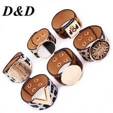 D&D Fashion Leopard Charm Leather Bracelets For Women Simple All-Match OL V Word Wide Cuff Bracelet Femme 2019 New Hand Jewelry(China)