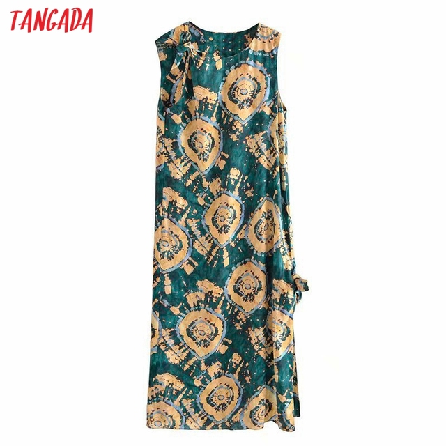 Tangada 2021 Fashion Female Tie Dyed Print Long Tank Dresses for Women 2021 Female Casual Beach Dress 3H540 1