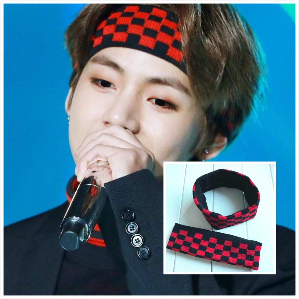 Kpop Kim Tae Hyung Fashion Headband Elastic Hair Bands Soft Men Women Red-black Plaid Hairband Bangtan Boys V Headwrap Gift