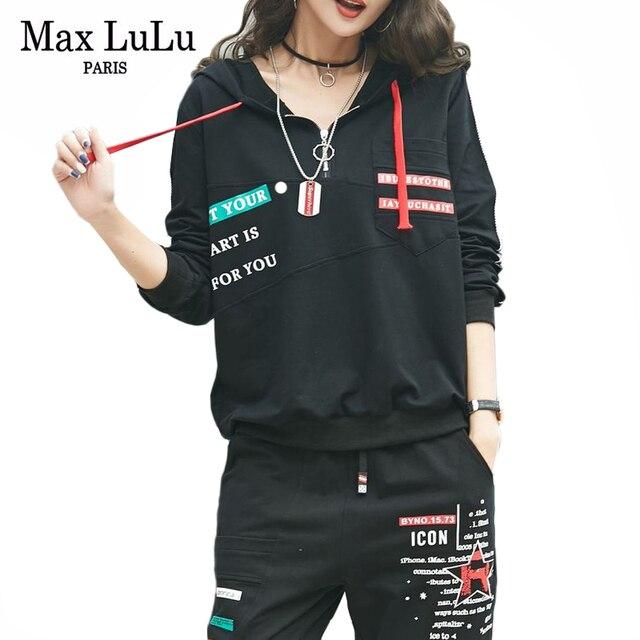 MAX Luluฤดูใบไม้ผลิ 2020 แฟชั่นยุโรปสุภาพสตรีฟิตเนสเสื้อและกางเกงสตรีสองชิ้นHooded Casualพิมพ์ชุด