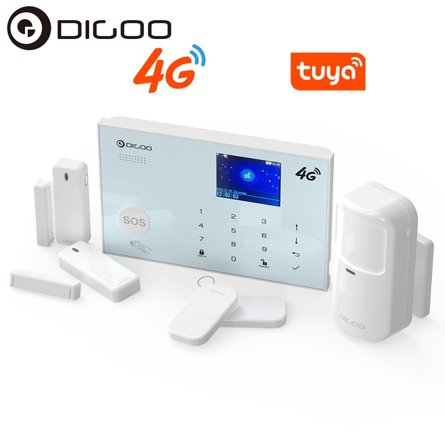 DIGOO DG-ZXG30 4G IOS Android 433MHz Wireless WIFI GSM RFID Card Smart Home Burglar Security Alarm Systems Kit Tuya APP Alert