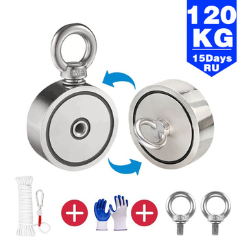 Fishing Magnet Double Sided 400kg Super Strong Round Neodymium Magnet for Magnet Fishing Game Treasure hunting Kit with rope