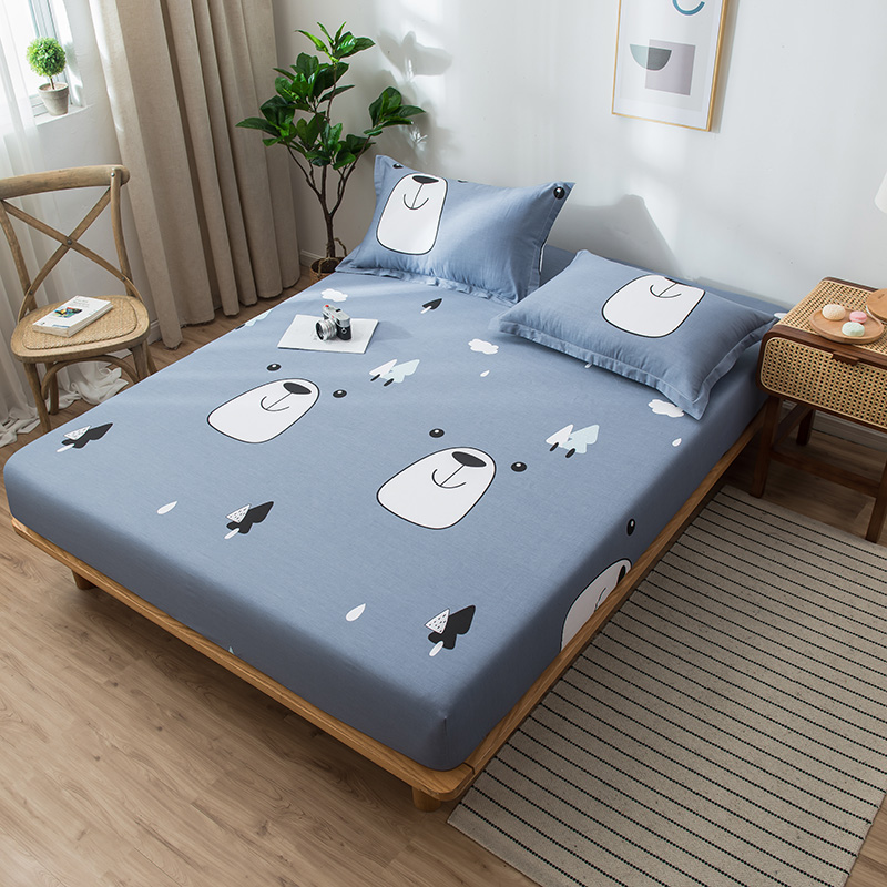 Cartoon Gray Blue Forest Bear Bed Sheet with Elastic Rubber Band Cotton Fitted Sheet <font><b>120*200</b></font>/150*200cm/180*200cm Mattress Covers image
