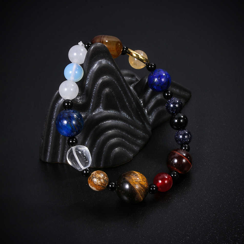 الأزياء ثمانية كواكب حبة سوار الرجال الحجر الطبيعي الكون اليوغا شقرا الشمسية سوار للرجال النساء مجوهرات
