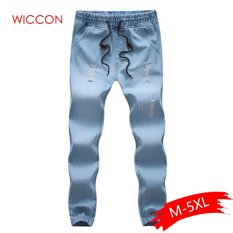 2019 Fashion Mens Cotton Stretch Jeans Slim Fit Denim Trousers Casual Jeans Men Biker Joggers Large Size Hole Drawstring Pants