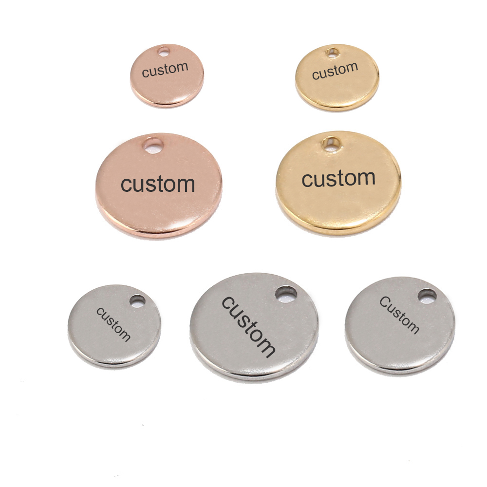 100pcs Gold/Rose Gold 6mm/8mm/10mm Stainless Steel Blank Stamping Dog Tags Charms Personalized with Any Words