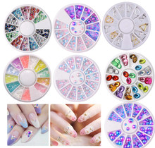 3Box Mixed Color 3D Nails Art Decorations Metal Pearl Crystal DIY Nail Art Accessories Irregular Beads Nail Rhinestones Gems(China)