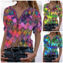 Abstract Print Short Sleeve T Shirt Women's Summer V Neck Casual Oversize Retro Pullover Plus Size Harajuku Streewear Clothes