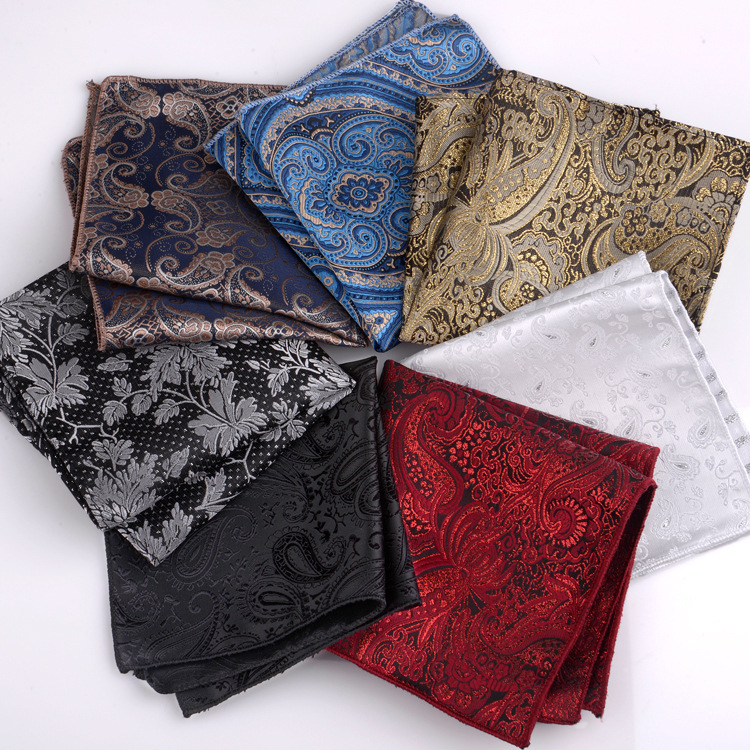 Vintage Men British  Floral Print Pocket Square Handkerchief Chest Towel Suit Accessories Wedding Polyester Printed Hanky Towel