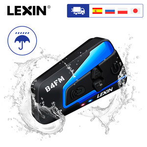 Image 1 - Lexin 1PC 1500M 4 가지 방법 다기능 인터콤 오토바이 블루투스 헬멧 방수 그룹 토크 헤드셋 FM 기능
