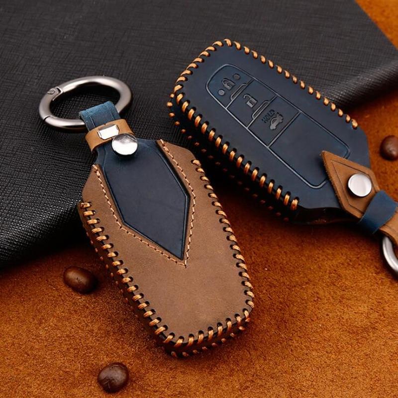 Cow Leather Car key cover 2 3 Button keyless Case For Toyota Camry CHR Prius Corolla RAV4 Prado Auris Avensis Land Cruiser 200