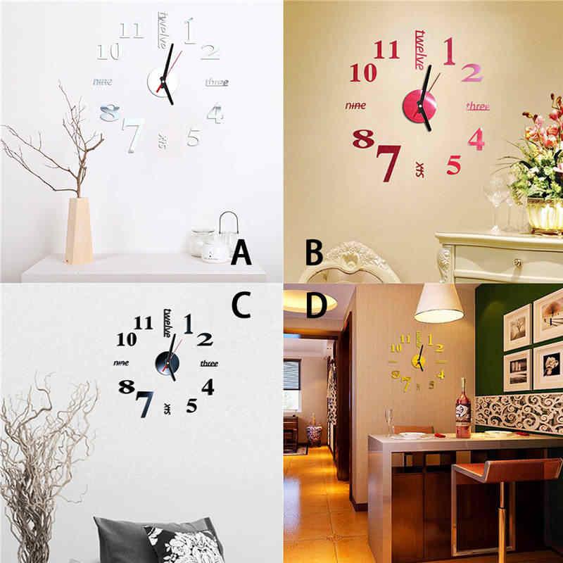 Adesivo de parede reloj pared criativo 3d diy números romanos acrílico espelho relógio decoração da sua casa mural decalques relógio de parede saat 661gz10