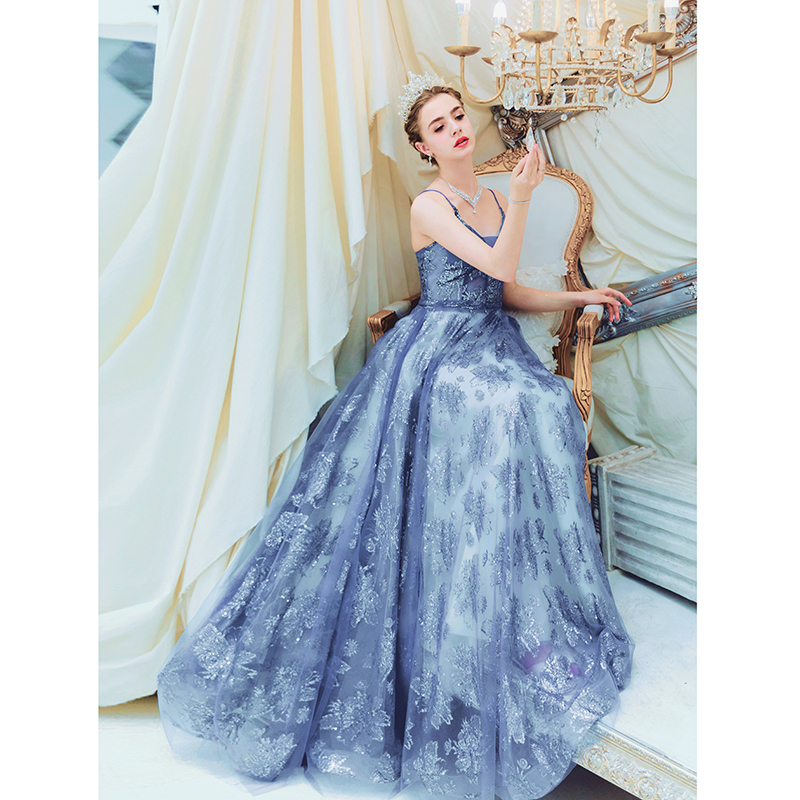 Blue Sequined Dresses Party 2019 Prom A Line Spaghetti Strap Sweetheart Lace Up Back Sleeveless Evening Gowns Abendkleider Stock in Prom Dresses from Weddings Events