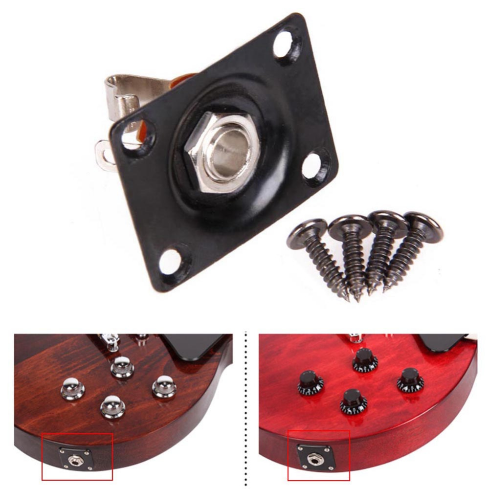 Square Style Jack Plate Electric Guitar Bass 1/4 6.35mm For LP SG Tele Guitarra Part Accessories image