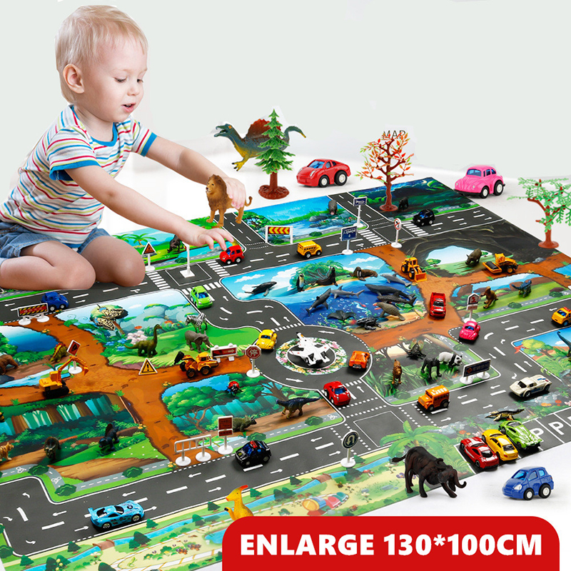 Hef319a081b7f4df3b01b54fcdebee745j 130*100CM Large City Traffic Car Park Play Mat Waterproof Non-woven Kids Car Playmat Toys for Children's Mat Boy Car