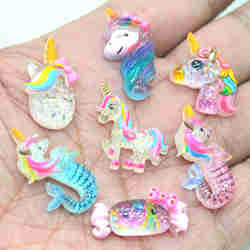 Resin Flat Back Clear Glitter Unicorn Mermaid Embellishments-Earring Charms-Home D.I.Y Card Making Crafts