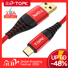 TOPK Cable USB tipo C AN42 3A para móvil, Cable de carga rápida 3,0, para xiaomi Redmi Note 7, Samsung S9, S10 Plus, USB C