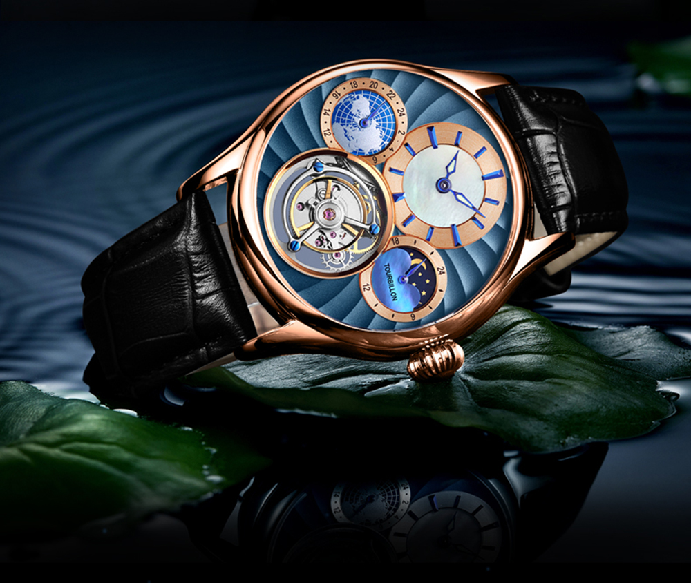 Tourbillon movimento mecânico relógios masculinos de luxo