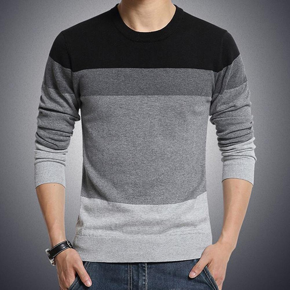 Chic Men Pullovers Color Block O Neck Long Sleeve Slim- Fit Pullover Blouse Knitted Sweater 2