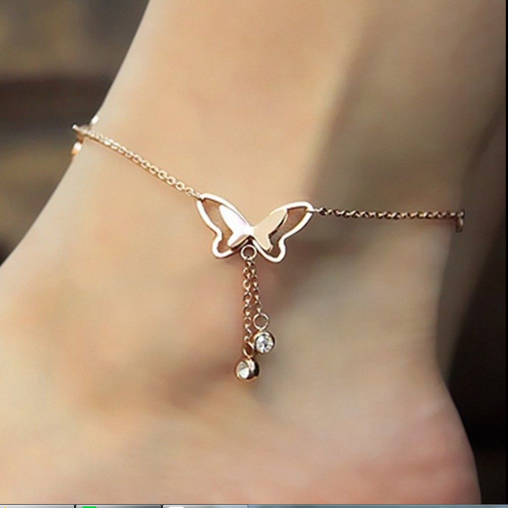 1pc Stainless Steel Anklet Simple Wild Adjustable Length Butterfly Crystal Ladies Anklet Foot Chain Bracelet Gift Wholesale