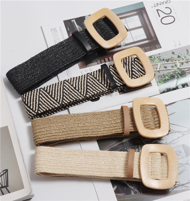 Wax Rope Braiding Women Belt Square Buckle Skirt Belt Woman's Vintage Knitted Waist Belt Woven Female Elastic Braided Belt BZ42