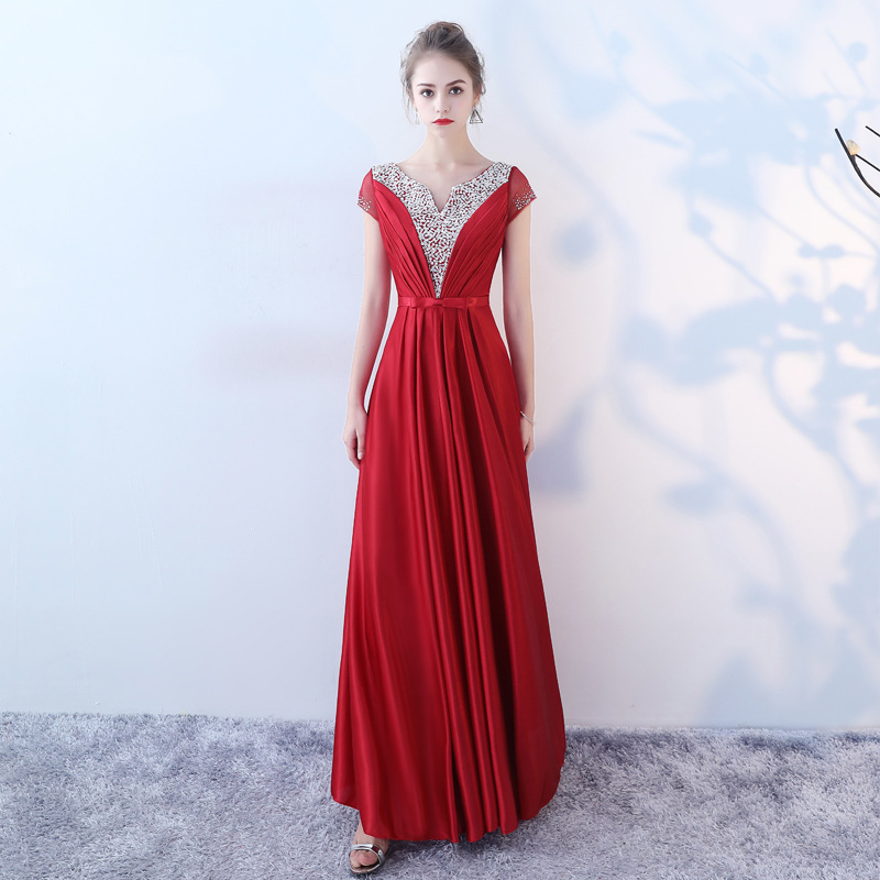 New Evening Dress Red Shiny Crystal Small V-Neck Women Vestidos 2020 Short Sleeve Robe De Soiree A Line Formal Party Gowns K222