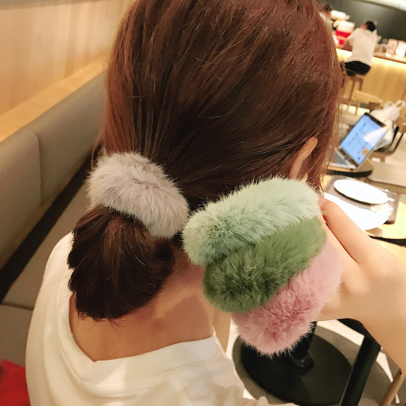 New True Fur Rabbit Hair Soft Elastic Hair Bands Women Girls Cute Scrunchie Ponytail Holder Rubber Band Fashion Hair Accessories