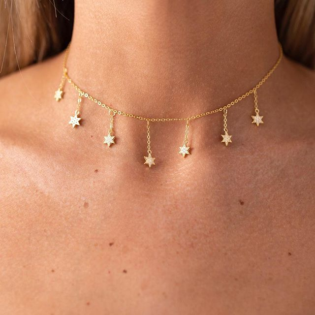 2019 High quality fine 925 sterling silver pave AAA cubic zirconia delicate chain Star charm tassel chain choker women necklaces