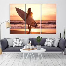 The Surfer Lady with Her Surfboard on the Beach Canvas Print Decor Canvas Painting 3 Piece Wall Pictures for Living Room Home Decoration