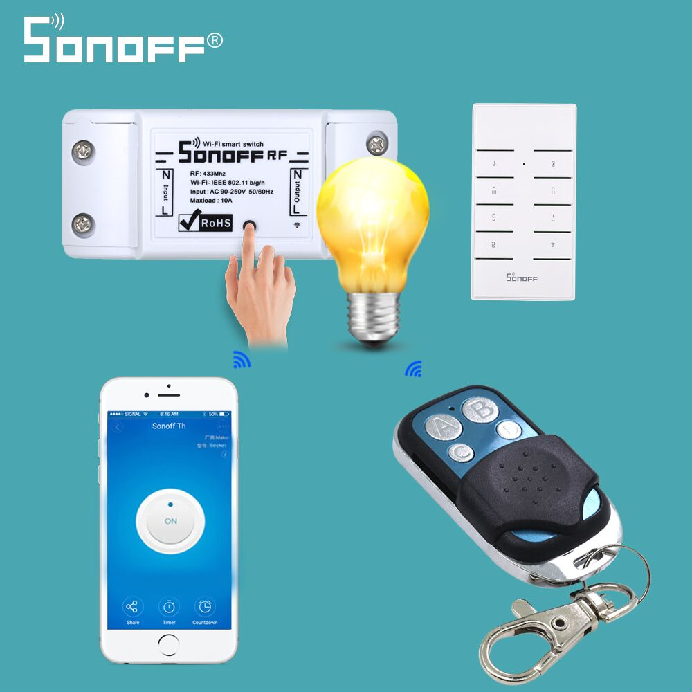 SONOFF 433Mhz Remote Controller Wifi 4 Channels Wireless 433 Control ABCD 4 Buttons Switch Smart Key Fob For SONOFF T1/4CH/RF