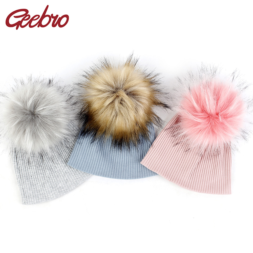 Geebro Newborn Soft Ribbed Cotton Beanies Hats With Faux Fur Pompom For Baby Girls Boys Autumn Winter Kids Baby Hats