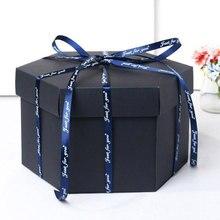 15x15x15 см, 11 цветов, вечерние подарочные коробки для скрапбукинга на юбилей, DIY фотоальбом, подарок на день рождения
