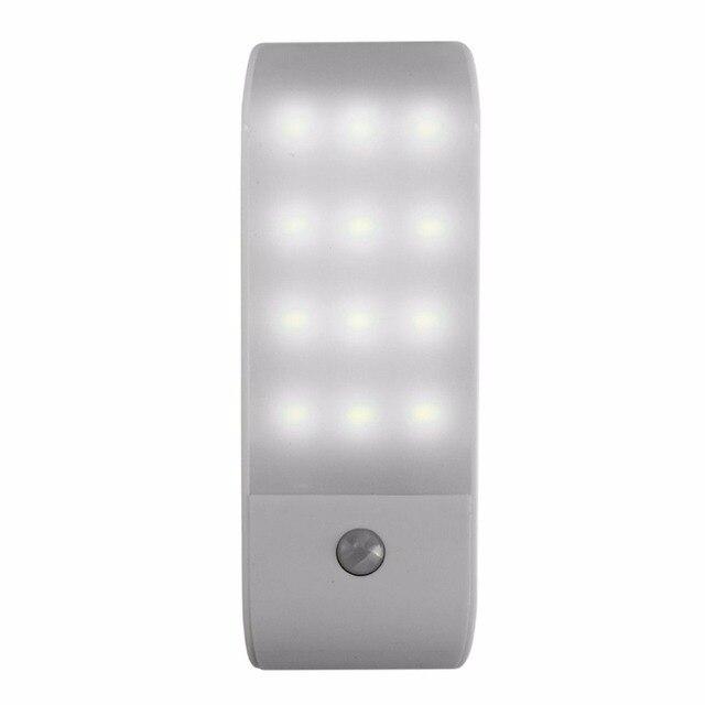 12 LED PIR อินฟราเรด Stick ON ตู้เสื้อผ้า Night Light USB Motion Detector เซ็นเซอร์เหนี่ยวนำตู้เสื้อผ้า Corridor โคมไฟ 5V