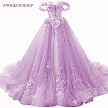 Angelsbridep Sweetheart Quinceanera Jurken Luxe Off-Shoulder Handlemake Bloem Tulle Sweet 16 Prinses Birthday Party Toga