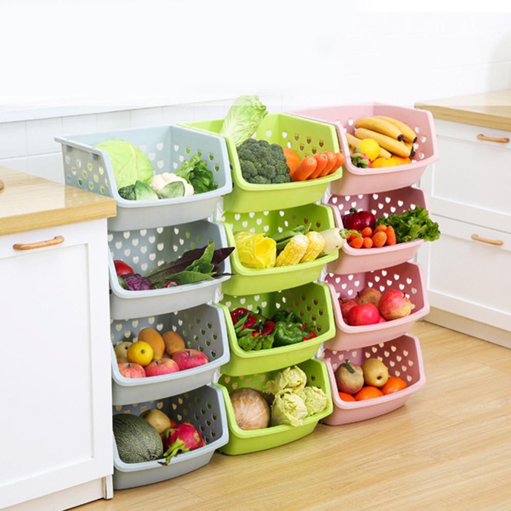 Durable Stackable Single-deck Hollow Fruit Vegetable Storage Box Colanders Strainer Kitchen Organizer Basket Shelf Racks Durable