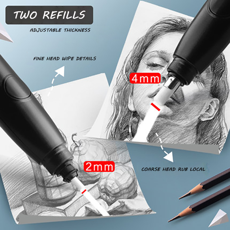 Electric High Gloss Eraser Special For Students Sketch Art Electronic Full Automatic No Mark Three Piece Set Drawing Core Vacuum