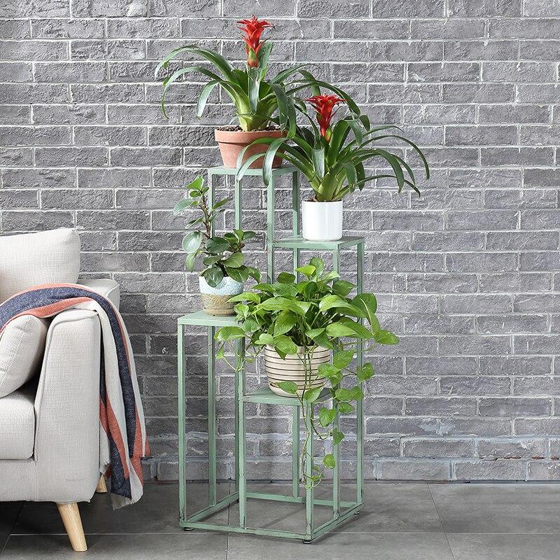 European Wrought Iron Flower Stand Balcony Living Room Indoor Fleshy  Pot Shelf Multi-layer Floor    Rack